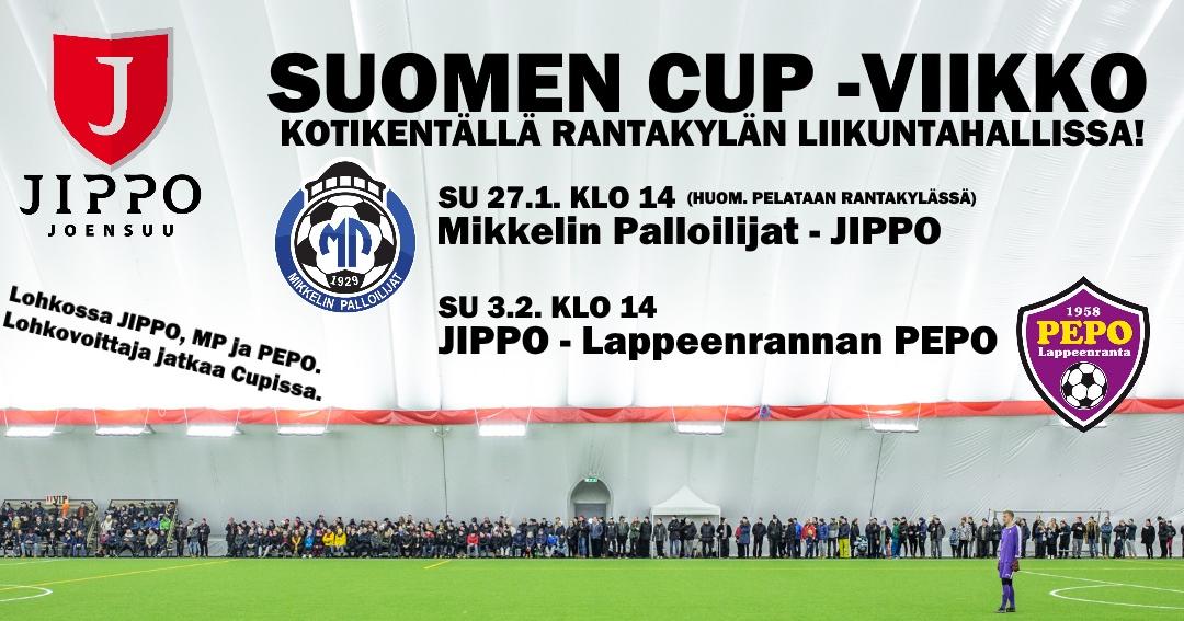 SUOMEN CUP -viikko: lohkovaiheen molemmat ottelut kotikentällä Rantakylässä