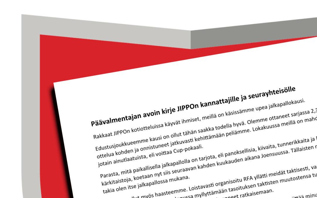 Päävalmentajan avoin kirje JIPPOn kannattajille ja seurayhteisölle
